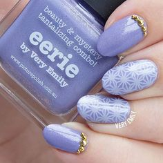 "Really excited to share this mani purple_heart It's the start of a new week and a new #31dc2015 theme. This is ""inspired by a colour"" so I decided to use my @picturepolish collaboration shade Eerie as the focal point of my nail art. Stamped using @bundlemonster BM-XL155 plate and @polishmylife Muscat Martini, finished the look with some gold bling from @bornprettystore // I will be posting a weekly round-up of my creations every Sunday on my blog! Did you catch yesterday's round-up?"
