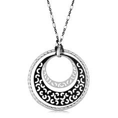 An outer circle in a textured diamond cut design highlights the unique two-layer inner graduated round elements with curly cut-outs on this lovely pendent. Desi