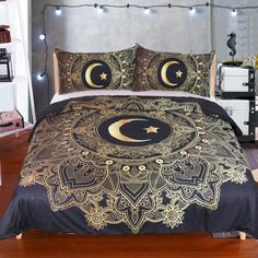 Gold Star Moon Bedding Set Bohemian Printed Duvet Cover Set and Pillow Sham Mandala Bedclothes Bed Linen 3 pieces Bed Cover. Category: Home & Garden. Subcategory: Home Textile. Blue Bedding Sets, Duvet Bedding Sets, Luxury Bedding Sets, Navy Bedding, King Comforter, Comforters, Blue Duvet, Queen Duvet, Black Duvet Cover