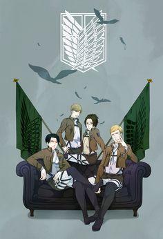 Attack on Titan ~~ Command Team :: Mike, Rivaille (Levi), Erwin Smith, Zoe Hanji
