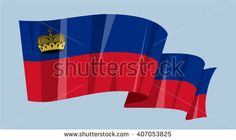 National waving flag vector editable banner ribbon country world Liechtenstein Europe crown - stock vector