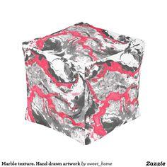 Marble texture. Hand drawn artwork Pouf