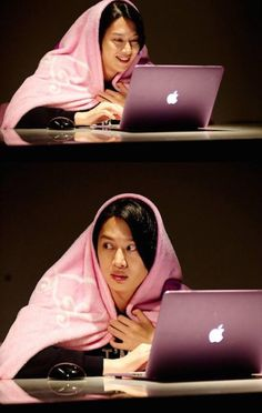 When you're on computer at midnight and hear someone coming... Heechul ♥