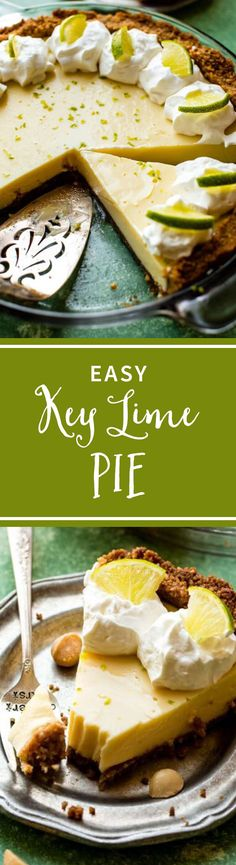 Deliciously simple homemade key lime pie! Macadamia nut crust and only 3 ingredients needed for the filling! Recipe on sallysbakingaddiction.com