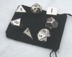 Set of 7 Polyhedral Metal Dice (16mm d6, RPG / dnd Dice) #DavesDice