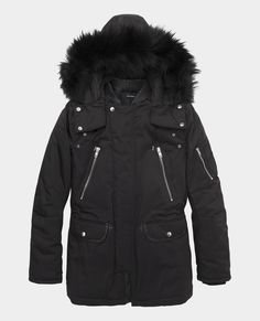 Mid-length parka with leather trimmed collar and removable fur hood - Coats & Short jackets - The Kooples Sport Chic, Parka, Mens Down Jacket, Kooples, Mid Length, Canada Goose Jackets, Best Sellers, Short Jackets, Winter Jackets