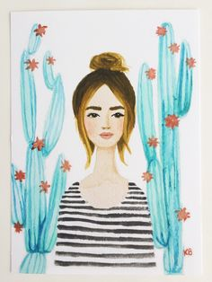 Print of Cactus girl original watercolor and gouache painting. Stripes, top knot, fashion illustration, chic, floral, succulents, mint coral by KristineBrookshire on Etsy https://www.etsy.com/listing/238555669/print-of-cactus-girl-original-watercolor