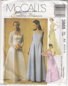 McCALLs 3865 Misses' Bridal Wedding Gown Lined Dress Shrugs Uncut Sewing Pattern, Free Shipping