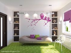 Charming Purple and White Girls Bedroom Design with Owl Decal Wardrobe and Cozy Bed by Irako Design