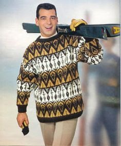 .Vintage Ski Sweater Ski Fashion, 1960s Fashion, High Fashion, Fashion Beauty, Mens Fashion, Vintage Ski, Vintage Winter, Ski Posters, Moda Masculina
