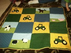 Sweet Seamstress - In Loops and Lace. Flashback Friday – Tractor Afghan. #baby #blanket
