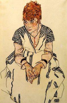 Эгон Шиле «Сестра художника в полосатом платье»