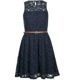 robe dentelle bleu marine
