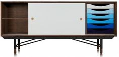 This Finn Juhl sideboard is perfect from any home/office looking to add a splash of stylish colour into their decor with a retro twist. Scandinavian Furniture, Office Looks, Tv Unit, Home Office, Dining Room, Cabinet, Retro, Storage, Sideboard