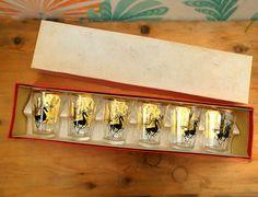 Vintage Christmas glasses . Vintage bar Shot glasses. Vintage