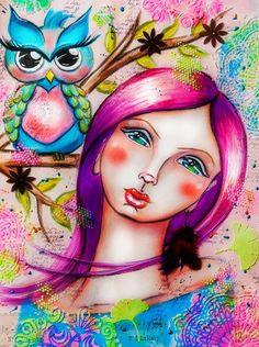 Mixed Media Artjournal Page Andrea Gomoll Girl