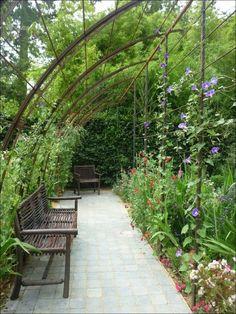 Incredible Side House Garden Landscaping Ideas With Rocks « couponxcode.inf… - All For Garden Garden Arbor, Garden Trellis, Garden Paths, Garden Arches, Vegetable Garden Design, Garden Structures, Backyard Landscaping, Landscaping Ideas, Garden Projects