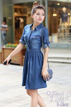 2015 Summer Style Denim Dress Vestidos Femininos Plus Size Women Clothing Feminine Jeans Dresses Blue Denim Dress, Jeans Dress, Dress Skirt, Shirt Dress, Womens Denim Dress, Denim Dresses, Blue Dresses For Women, Girls Dresses, Look Street Style