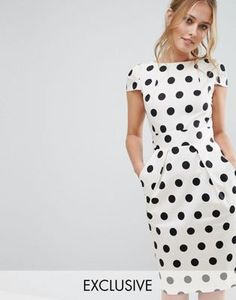 Closet Polka Dot Cap Sleeve Midi Dress - this dress is $83 and I am so sad!
