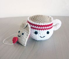 Handmade Crochet Amigurumi Play Food Tea Cup and Tea Bag Gift Set