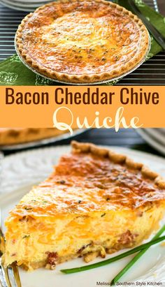 Bacon Cheddar Chive Quiche is made with bacon, cheddar cheese and fresh chives proving that ingredients don't have to be expensive to taste extraordinary. Breakfast Quiche, Breakfast For Dinner, Breakfast Dishes, Breakfast Time, Breakfast Recipes, Christmas Breakfast, Breakfast Casserole, Brunch Egg Dishes, Gourmet Breakfast