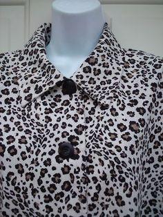Briggs Sz L Petite Black White Leopard Print Button Frnt Shirt Jacket Flax Blend | eBay