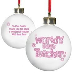 World's Best Teacher Bauble in pink is one of the best gifts a teacher can receive this Christmas