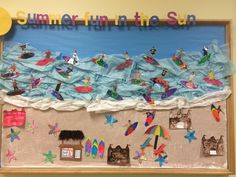 Bulletin Board craft idea. Take pictures of children pretending to surf then cut them out and put them on surf boards! This is good for kindergarten because coloring and cutting out the surfboard will help develop their fine motor skills. It will also help create a sense of belonging for all students in the class.
