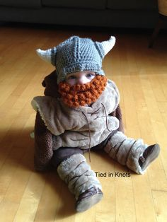 Baby-Viking-Hut mit Bart - Baby Baby Wikinger Mütze mit abnehmbaren Bart - Bart…