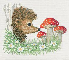 "Hedgehog with Toadstools cross stitch kit, 11.5"" x 11.5"", DMC thread"