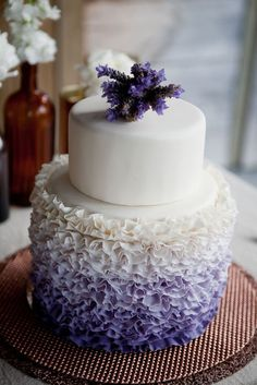 Wedding Cake Ideas: Ruffled White & Purple Ombre - http://www.diyweddingsmag.com/wedding-cake-ideas-ruffled-white-purple-ombre/ #weddingcakeideas #rufflecakes #ombrecakes