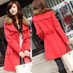80d35c64c4c1 euro 11 incl shipping 2013 women s slim medium-long plus size thickening  trench fur collar long-sleeve woolen outerwear