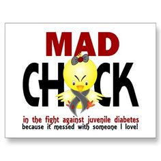 Mad Chick In The Fight Juvenile Diabetes Postcards by awarenesschicks