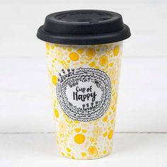 Our super cute ceramic double-walled coffee mugs keep drinks hot - and cars and clothes splash-free.
