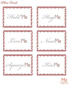 Free Valentines's Day printable place cards! See more party ideas at CatchMyParty.com. #valentinesday #freeprintables