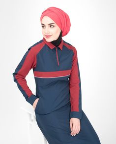 Navy Contrast Pique Jersey Jilbab