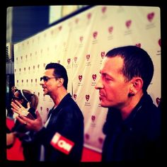 Dave Gahan and Chester Bennington (@ChesterBe) on the #MusiCaresMAP red carpet.  - @thegrammys | Webstagram
