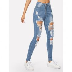 Ripped Bleach Wash Skinny Jeans The post Ripped Bleach Wash Skinny Jeans appeared first on Best Jean. Outfit Jeans, Girls Ripped Jeans, Light Blue Ripped Jeans, Ripped Knee Jeans, Ripped Jeggings, Jeans Boyfriend, Ripped Skinny Jeans, Casual Jeans, Destroyed Jeans