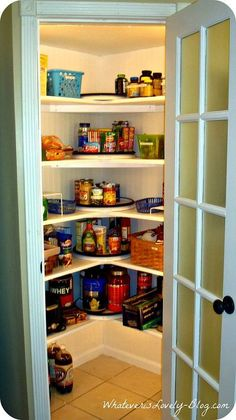 a corner pantry made from scratch, closet