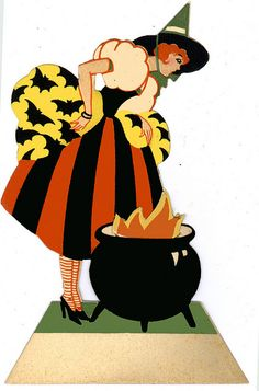 Vintage Deco Halloween Pretty Lady Witch and Cauldron Place Card