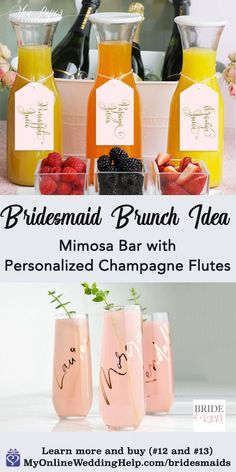 Bridesmaid gift ideas for brides: group activity and thank you ideas as well as bridesmaid proposal inspiration and more. Bridesmaid Brunch, Bridesmaid Proposal, Bridesmaid Gifts, Bridesmaids, Gifts For Wedding Party, Party Gifts, Summer Wedding, Wedding Favors, Personalized Champagne Flutes