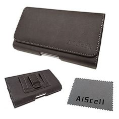 """iPHONE 6S plus , 6 plus 5.5"""" ~ LARGE Horizontal Premium Brown Suede Leather Pouch Holster Case with Magnetic Closure , Built in Belt Clip And Belt Loop + AIS cell phone Cleaning Cloth (fits iPhone 6S Plus with otterbox / commuter / Symmetry / hybrid / Spigen Slim Armor / SUPCASE Unicorn Beetle Series protective slim case on)"""