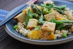 Healthy Tofu and Vegetables with a Honey-Orange-Ginger Glaze