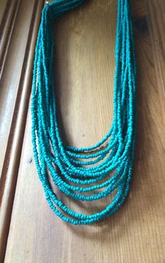 Turquoise Layered MultiStrand Statement Necklace by JewelrybyRJ, $48.99