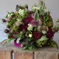 Rustic rich autumnal bouquet for Northbrook Park Bride by Eden Blooms Florist. Created from Deep Pink Astrantia, Grand Prix Rose, Purple Basil, Waxflower, Hydrangea, Cream Freesia, Raspberry Dahila, Flowering Mint & Nigella Pods.