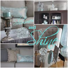 Add shimmering metallics to your casual rooms. Mixed with neutrals and an icy color like aqua its a winning combo. Silver pillows, lanterns, lamp, table and ottoman tray in silver croc all from #HomeGoods #HappybyDesign #sponsored