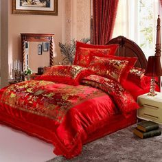Satin Duvet Cover set Dragon and Phoenix Chinese Red Wedding Bedding set Print Modern suits Jacquard Bedclothes Comforter Cover, Duvet Cover Sets, Wedding Bed, Red Wedding, Wedding Ideas, Vintage Bedding Set, Green Duvet Covers, Cheap Bedding Sets, Bedclothes