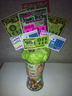 Scratch off ticket bouquet! Made for my daddy's birthday. I feel so lucky to have him around for another birthday due to his cancer, maybe I can share my luck with him and he will hit big. <3  #diy #present #unique