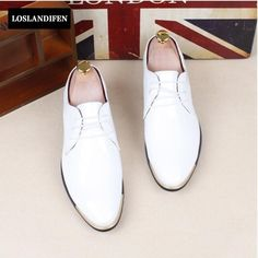 52.06$  Buy here - Men's Dress Formal Loafers Patent Leather Pointed Toe Work Slip On Smart Shoes Lace Up For Man Business shoes Wedding Shoes   #SHOPPING