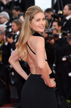 Stunner: Former VS model Doutzen Kroes also chose to kick off her red carpet appearances a...